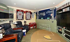 Sports man cave with recliner seats and tv