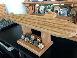 military coin rack wooden holder