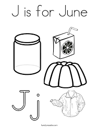 j is for june coloring page twisty noodle