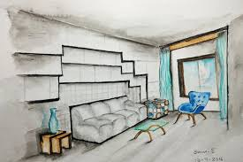 interior design sketches one point perspective time lapse YouTube