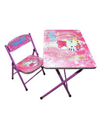 Happy Kids Foldable Study Table And Chair - Hello Kitty (pink)