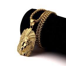 hiphop jewelry men hip hop gold chain necklaces pendants fashion indian chief pendant long necklace
