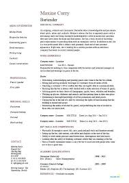 Sample Bartending Resume Resume Sample Source