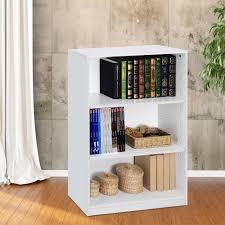 bookshelves office. 3 Shelf Bookcase Office Home Closed Back Bookshelves Storage Organizer White