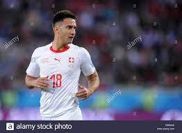 KALININGRAD, Russland - Juni 22: Mario Gavranovic der Schweiz schaut  während der FIFA WM 2018 Russland Gruppe E Übereinstimmung zwischen Serbien  und der Schweiz auf Kaliningrad Stadion am 22. Juni 2018 in