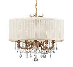 gramercy 5 light brass drum shade mini chandelier
