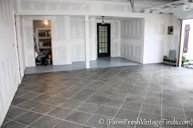 stained concrete garage floor. Beautiful Concrete How To Stain Your Concrete Garage Floor On A Budget And Make It Look Like  Tile  Farm Fresh Vintage Finds With Stained