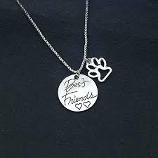 dog human best friend necklace friends heart paw pendant