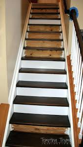 new stairs for under 100 heading on up installing stair riserspainting spindles black painting interior