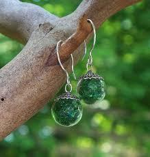 Bottled Up Designs Recycled Vintage 1960s Green Beer Bottle Glass Orb Earrings