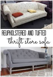 before and after reupholster sofa