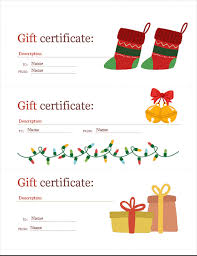 Word Templates For Gift Certificates Holiday Gift Certificates Christmas Spirit Design 3 Per Page