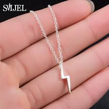 whole smjel cute delicate lightning bolt charm pendant necklace thunder strike necklaces gift for friend accessories punk jewelry n300 whole jewelry