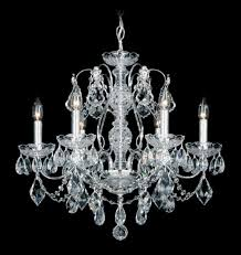 schonbek 1705 40 century 6 light crystal chandelier in silver with clear heritage crystal