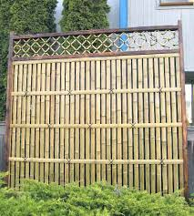 Big Pole Bamboo Fence Panels Lattice top Bamboo Board Fence Panel 6x7, 6x6  commercial bamboo fencing Open look bamboo privacy fence panel