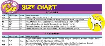 Rubies Pet Shop Boutique Size Chart Two Little Cavaliers