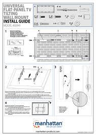 manhattan 460941 universal flat panel tv tilting wall mount quick install multi