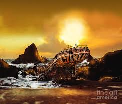 Golden Shipwreck Digital Art by Janine Smith