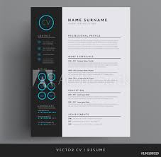 Fotografie Obraz Stylish Cv Resume Template Blue And Dark Gray