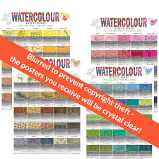 Set Of 4 X A3 Watercolour Mixing Guide Palette Chart Posters Uk Size A3