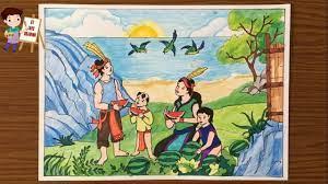 Vẽ Sự Tích Dưa Hấu / Vẽ truyện cổ tích dưa hấu Mai An Tiêm / Vẽ minh họa truyện  cổ tích dưa hấu - YouTube