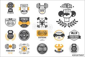 vector set of retro fitness logo templates emblems with dumbbells barbells and silhouettes of