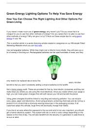 Green Energy Lighting Green Energy Lighting Options To Help You Save Energy
