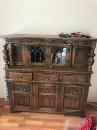 brown retro sideboard 3 cupboards 3 draws glass doors and lovely details