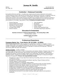 Sample Resume For Financial Controller Resume Cover Letter Example