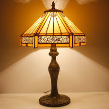 Tiffany Lamp Yellow Hexagon Stained Glass Lampshade Antique Style Base Table Lamps Read Lighting W12 H18 Inch For Living Room Bedroom Bedside Desk