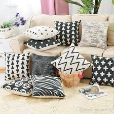 black and white triangle cushion cover zebra throw pillow case dots cross geometric funda cojin almofadas outside chair cushions large outdoor cushions from