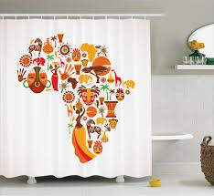 african shower curtain map with tribal icons bathroom decor  ebay