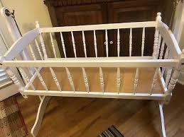vintage jenny lind style baby cradle white wooden swinging cradle bassinet 125 00