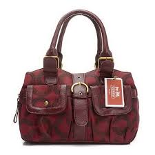 Coach Buckle In Signature Medium Red Satchels EIU
