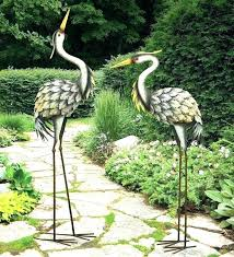 captivating metal garden ornaments metal cranes for garden metal garden cranes grey heron pair metal garden captivating metal garden ornaments