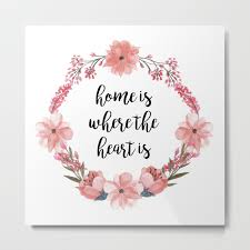Home Is Where The Heart Is Quote With Flowers Metal Print By Inspiration Home Is Where The Heart Is Quote