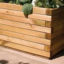 rowlinson rectangular wooden pressure treated patio trough planter