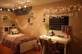 Plaid Bedroom White Brown Navy Plaid Painting Wall String Lights In Bedroom Pink