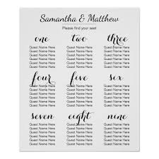 Seating Chart Wedding Simple Chic Wedding Seating Chart