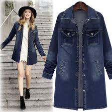 2019 qmgood coat female denim fabric women trench coat plus size 5xl long coats 2018 new winter women winter coats blue trench casual from octavi
