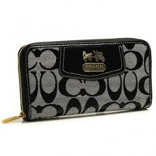 Coach Logo In Signature Large Grey Wallets BFY