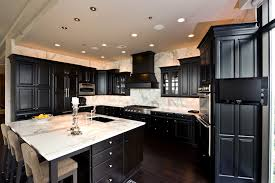 black kitchen cabinets flooring photo - 1