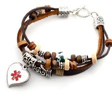 bohemian leather medical id bracelet