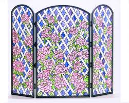pink rose trellis stained glass fireplace screen