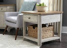 white round end table. Antique White End Tables Farmhouse Table With Basket Round And Chairs