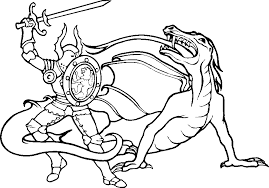 Knight Coloring Pages Free Printable Knight With Dragon Coloring