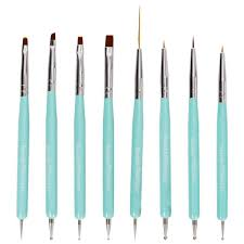 Cute Turquoise 8pc Dual Sided Nail Art Brush and Dotting Tool Set ...
