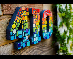 idea from hobby lobby wooden numbers with mosaic
