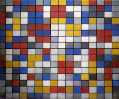 mondrian composition with grid 9 checkerboard with light colors 1919