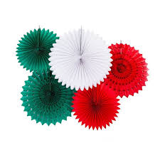 Red Paper Flower Italian Flag Italy Country Tissue Paper Flower Fan Backdrop Wall Decoration Kit 5 Pack Paper Flower Pinwheel Backdrop Party Wall Decoration Combo